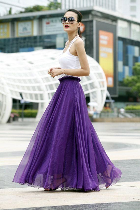 Fairy Retro Chiffon Maxi Skirt Strapless Dress Big Sweep Long Skirt in Purple - NC405