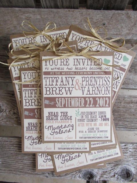 Too fussy, but print on nice paper, onto card, tied with string. Cheap and easy Rustic Wedding Invitation - wedding daze