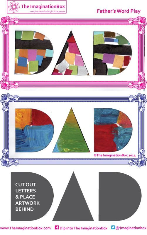 Cut out this Father's Day template and place your child's painting or collage behind it - to make a unique handmade card for dad.