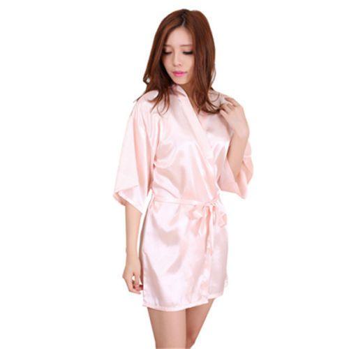 Women Plain Silk Satin Kimono robe Dressing Gown Bridal Bridesmaid Wedding Robe