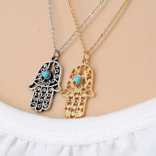NEW HOT 2016 Fashion Jewelry hollow turquoise necklace Fatima palm necklace pendant Clavicle chain Wholesale & Free Shipping(China (Mainland))