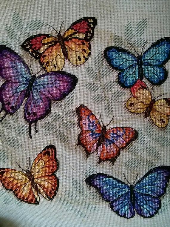 Completed Counted Cross Stitch  Butterfly Profusion by LemonCows, $40.00