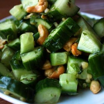 Thai Inspired Cucumber Cashew Salad Recipe - ZipList    Leave out soy and use coconut amines