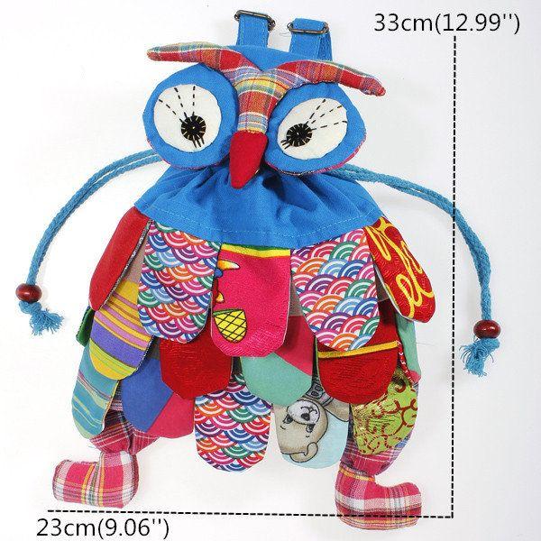 4 Colors Baby Owl School Backpacks Kindergarten Kid Child Shoulder Bags