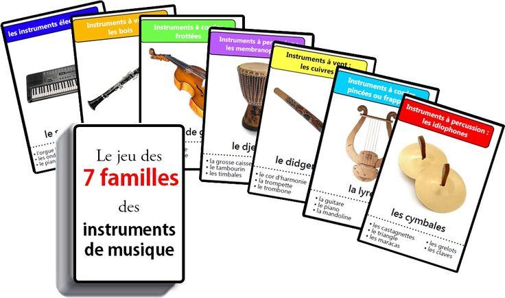 je vous présente le jeu des sept familles des instruments de musique. Ce nouveau jeu est constitué de quarante-deux cartes. 7 familles des instruments de musique à imprimer