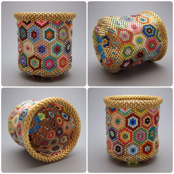 Gold hexagon pattern - quilt pattern - beaded basket - collectible basket - bead art - seed beads - beadweaving - bead woven basket