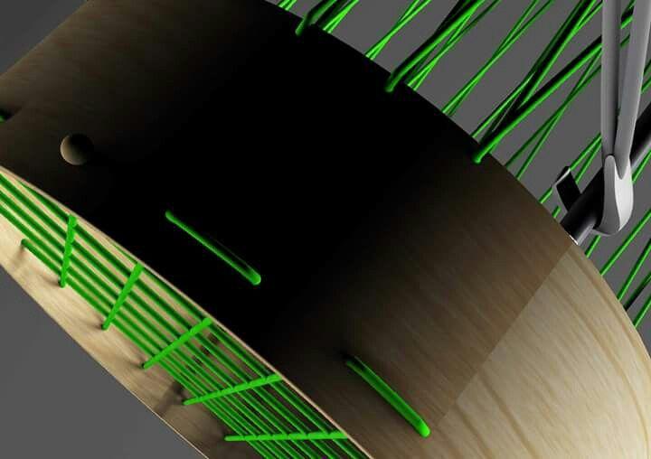 Tunnel - houpačka (prstence z ohýbané překližky, lano a kovové tyče - viz Počítačová grafika)