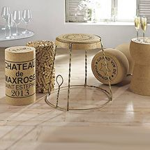 "Cork Furnishings  - love the multi cork stool but really love the Giant Champagne Cork table, just wonder if it would be ""too much"" in our spreading wine decor"