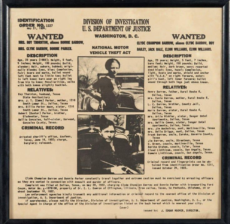 Wanted. Bonnie Parker et Clyde Barrow. 21 mai 1934. Feuille cartonnée, 20 x 20 cm