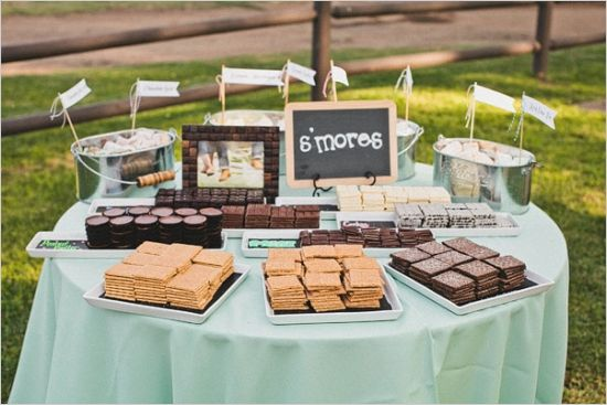 perfectly set up s'mores table see more of this outdoor reception http://www.weddingchicks.com/2013/08/16/rustic-chic-wedding-2/
