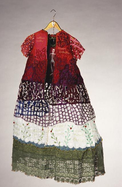"Ulla Pohjola ~ ""A Self-portrait (April)"" (2002) hand + machine embroidery; cotton, polyester, viscose, lace, mirror, pearls, clothes hanger 