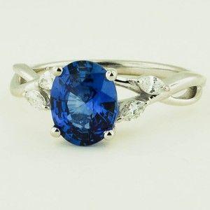 Saphirweiden-Diamantring aus 18 Karat Weißgold – besetzt mit 1,65 ct. Ovales Sri Lanka …