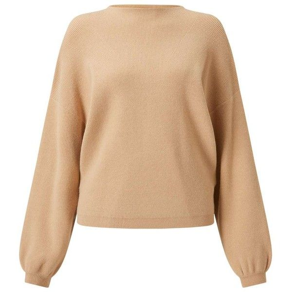 Miss Selfridge Camel Ballon Sleeve Knitted Jumper ($68) ❤ liked on Polyvore featuring tops, sweaters, camel, camel top, rayon tops, beige sweater, sleeve sweater and jumpers sweaters