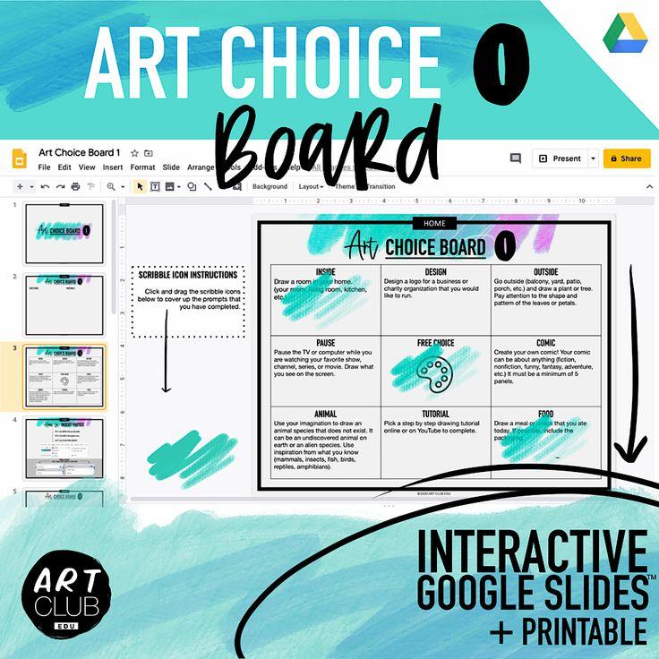Digital art choice board in 2020 online art classes