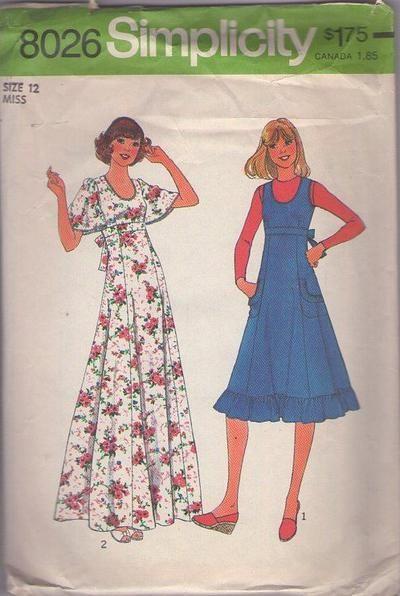MOMSPatterns Vintage Sewing Patterns - Simplicity 8026 Vintage 70's Sewing Pattern LOVELY Scoop Neck Empire Waist Tie Back Ruffle Trim Sun Dress, Jumper, Flutter Butterfly Sleeve Maxi Prom Gown