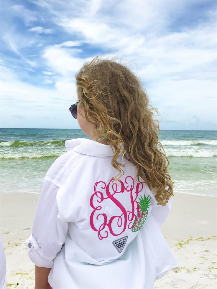 Monogrammed Youth Columbia Fishing Shirt with Lilly Pulitzer Pineapple Accent by TantrumEmbroidery on Etsy
