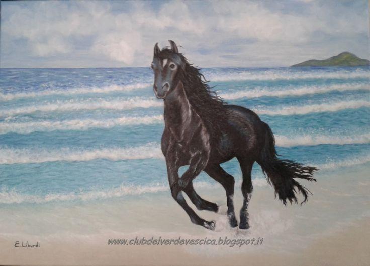 {#horse, #painting, #oiloncanvas, #art} club del verde vescica                                       : 8) Dipingere UN CAVALLO AL GALOPPO (galloping hors...
