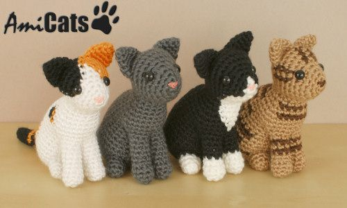 AmiCats crochet pattern. Includes right and left-handed tutorials - $16