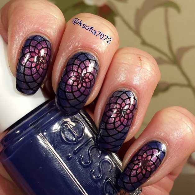 This is for #clairestelle8mar Mosaic. The base is #chinaglaze Check out the silver fox.  I stamped with @uberchicbeauty 4-03 and #blovesplates BLP01 B. a Dark Knight. The I leadlighted with #essiesilkwatercolor Love Sheen No shrinking violet and Point of blue.  #uberchicbeauty #nails #nailstamping #stampednails #stampingnailart #alltheprettynails #nailartdesigns #nailstagram #stamping #showmynails #nailsoftheday #stampinglover #nails2inspire #notd #nailartofinstagram #nagellack #naglar…
