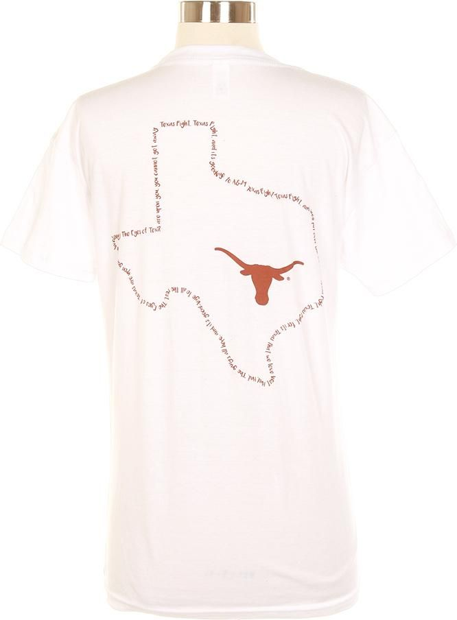 Be ready for Game Day with the Ladies Longhorn Texas Fight T-Shirt! This unique white tee features lyrics from the Texas Fight Song! Order your shirt today!