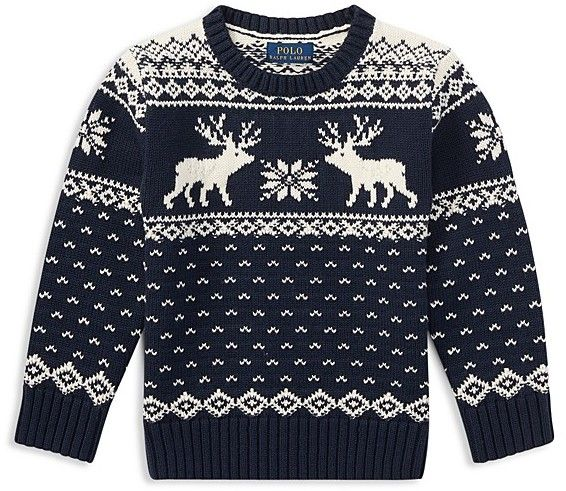 Ralph Lauren Boys' Intarsia Reindeer Sweater - Little Kid