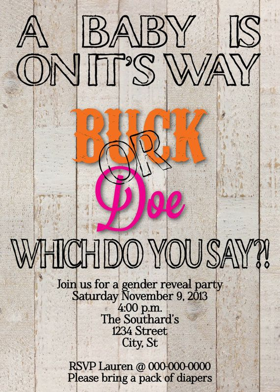 Buck Or Doe Gender Reveal Party Invitation On Etsy 5500
