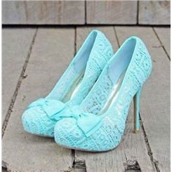 Elegant Little Blue Platform Stiletto Heels with Bowtie