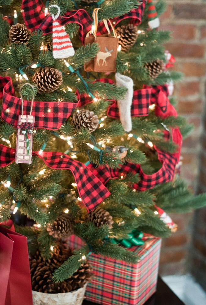 "Tartan Trimmed Christmas Tree - would be cute for one of the ""mini"" trees."