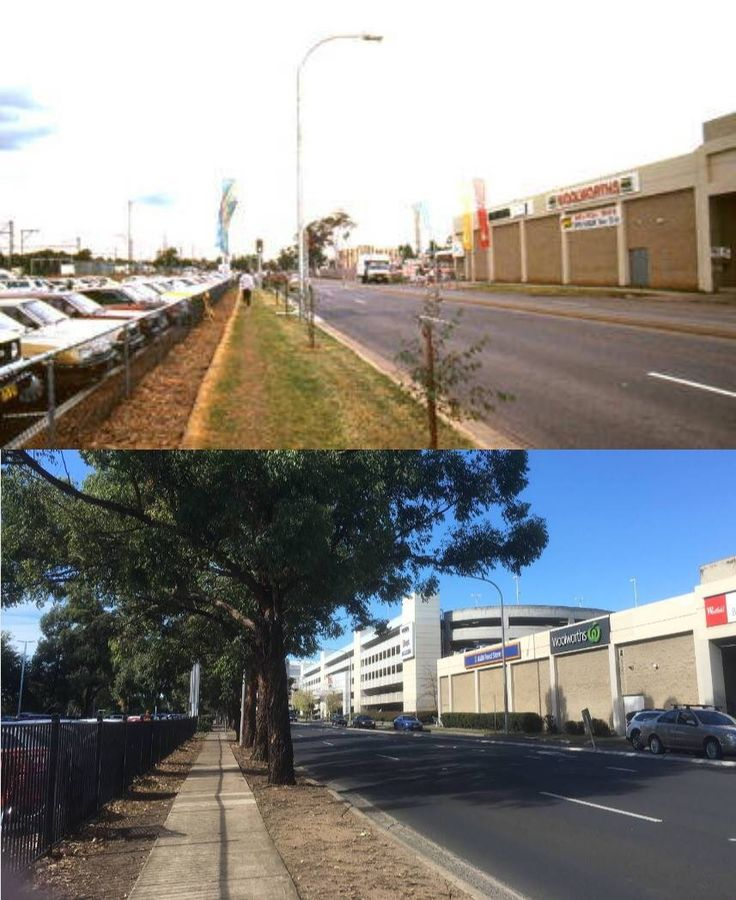 Jane Street, Penrith looking east with Westfield Penrith Plaza on the right, 1992 > 2016. [Penrith City Council > Phil Harvey. By Phil Harvey]