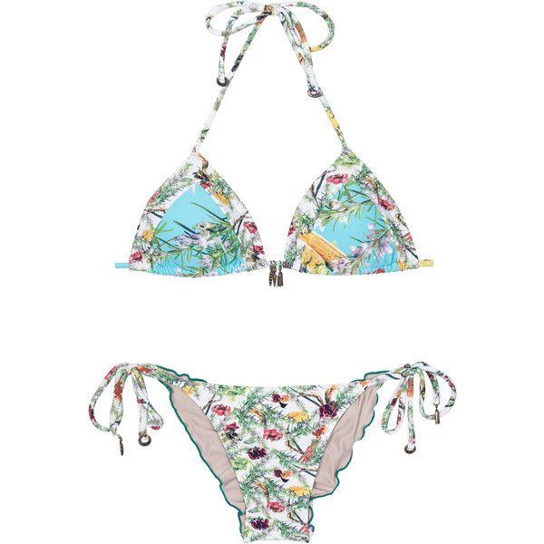 La Playa Blue And White Floral Print Triangle Bikini Top And Scrunch... (235 BRL) via Polyvore featuring swimwear, bikinis, bikini bottoms, white, white tankini top, white triangle bikini top, ruched bikini bottom, bikini tops e triangle bikini swimwear