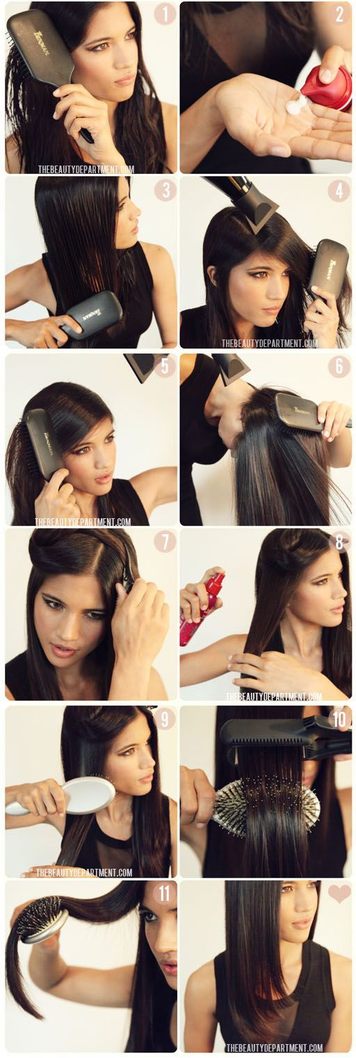 Get a little bend in your hair with this brush trick. | 17 Useful Tricks For Anyone Who Uses A Hair Straightener