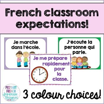 """French classroom expectation postersReady-to-print expectations to use in your primary French classroom! Includes: 2 """"title"""" options (Les regles de la classe, Dans cette classe...) **Let me know if you would like me to add something else! 10 posters with simple sentence structures.  3 colour choices!"""