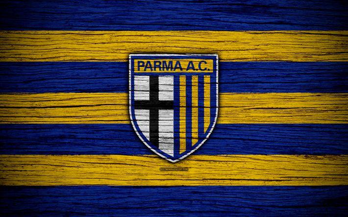 Download wallpapers Parma Calcio 1913, Serie B, 4k, football, wooden texture, blue yellow lines, italian football club, Parma FC, logo, emblem, Parma, Italy