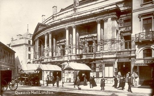 Queen's Hall, Langham Place, London, destroyed in 1945. Today at this location is the St Georges Hotel and the Pizza Express restaurant.