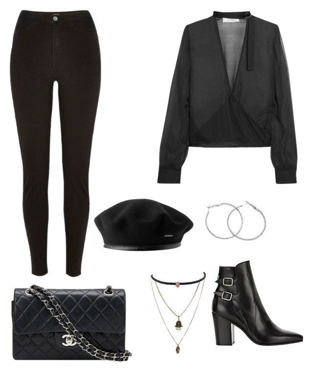 """all black🖤"" by parisianights on Polyvore featuring moda, Jamie Jewellery, IRO, Chanel, River Island, Jacquie Aiche ve Yves Saint Laurent"