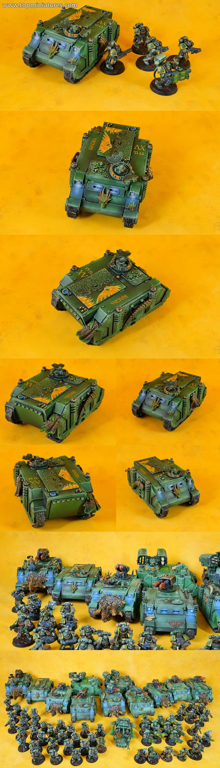 Warhammer 40k salamanders space marines rhino conversion & with freehands