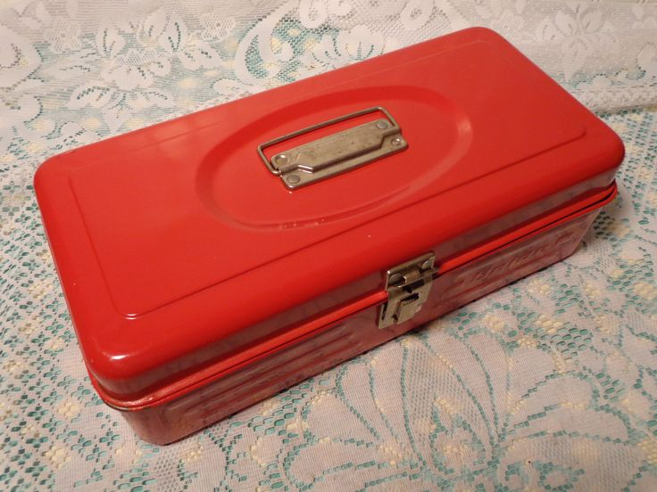 Vintage Utility Box - Red Metal Tool Box by Union Steel Chest Corporation  -  17-264 by BubbiesMemories on Etsy