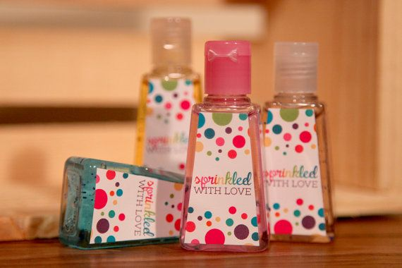 These cute little Sprinkled with Love sanitizer labels are perfect for something like a baby shower, bridal shower or birthday party. The