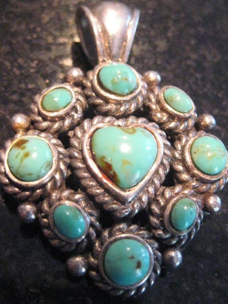 Native American Sterling Silver Pendant Vintage Turquoise Heart Antiq Hallmarkd