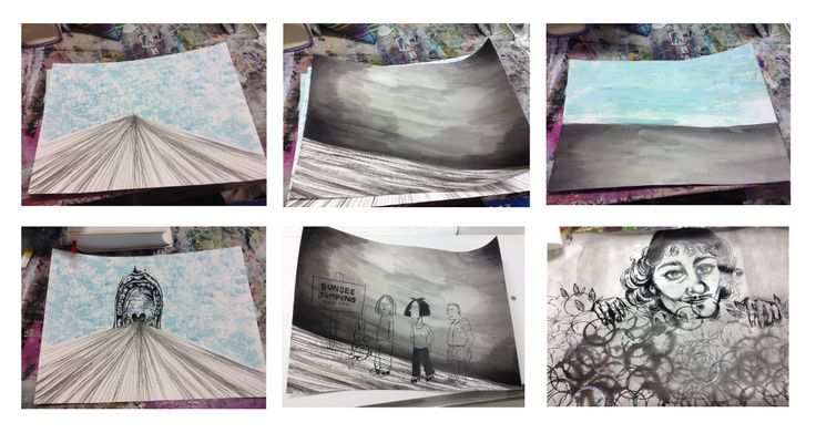 Task 4 - Process using mark making to create landscape backgrounds and then adding in found imagery