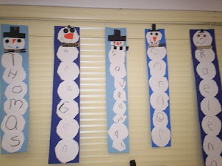 Name snowmen--cute. Could letter stamp the name bubbles. Good cutting skills.