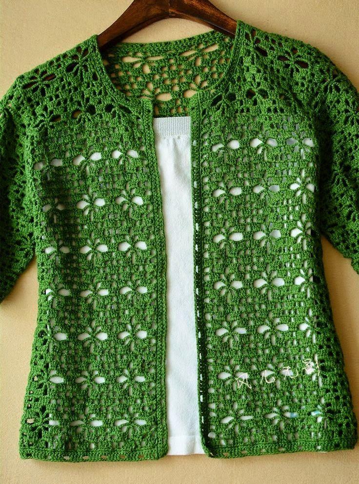 Tığ işi Yeşil Renkli Bayan Yelek Modeli Şemalı Anlatımlı 3