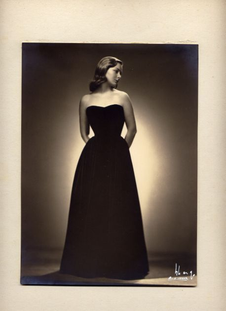 Arturo Ghergo - young woman in a black gown, 1950s