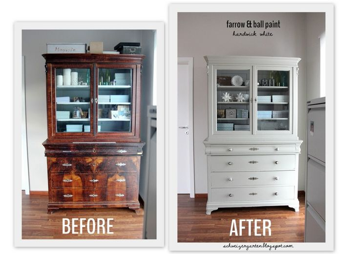 Before \ After Painted and Stained Vintage Buffet Makeover I used - küchenschrank mit glastüren