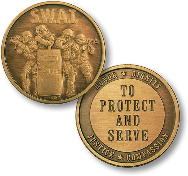 SWAT 4 Protect Bronze Antique Coin