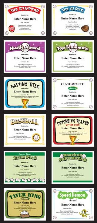 Baseball Certificates Templates — just personalize, print and present.  Great for youth baseball teams, team parents and baseball coaches. From Little League thru HIgh School.