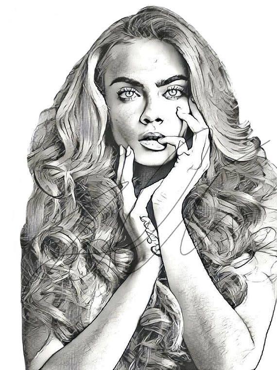 Cara Delvingne Drawing Sketch PRINT Wall Art Illustration