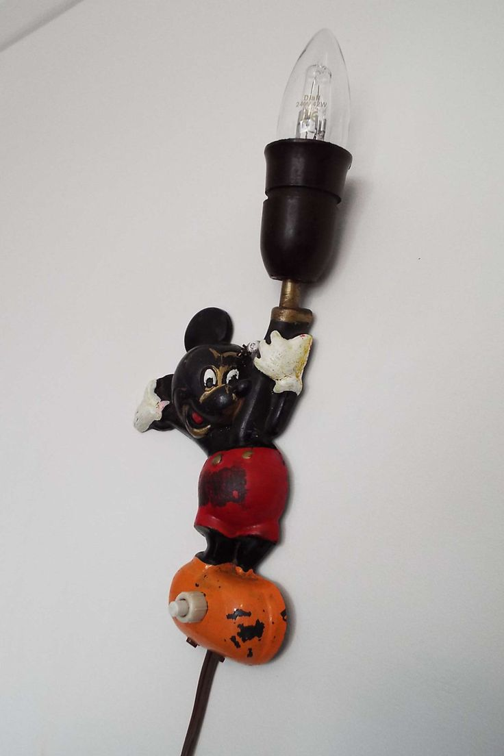 Rare Vintage 1952 Mickey Mouse Wall Lamp Wall Light Oluk