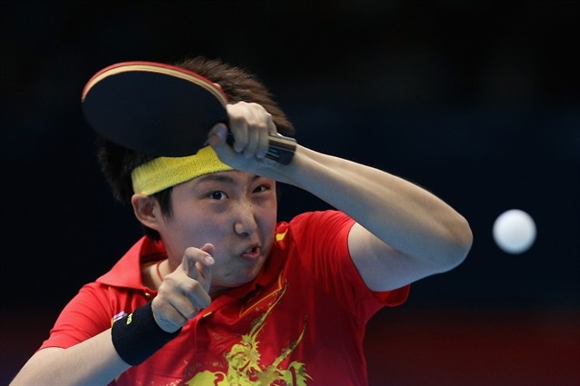Guo Yue of China's Women's Table Tennis. You know the intensity of the game by their faces.