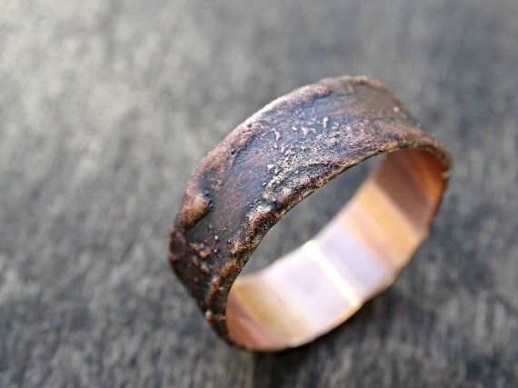 bronze ring cool mens ring rustic ring bronze wood by CrazyAssJD